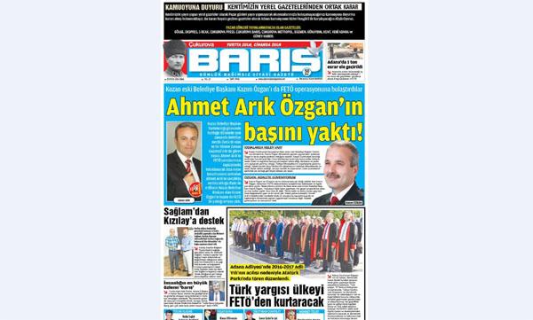 ÇUKUROVA BARIŞ GAZETESİ 02.09.2016 TARİHLİ 1. SAYFA