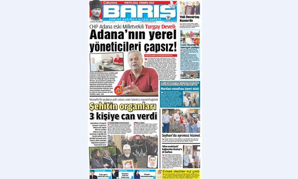 ÇUKUROVA BARIŞ GAZETESİ 03.09.2016 TARİHLİ 1. SAYFA