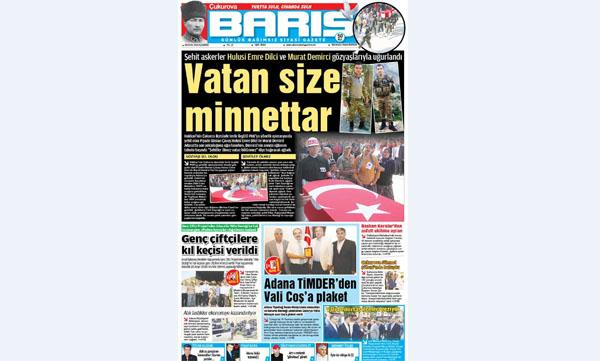 ÇUKUROVA BARIŞ GAZETESİ 05.09.2016 TARİHLİ 1. SAYFA